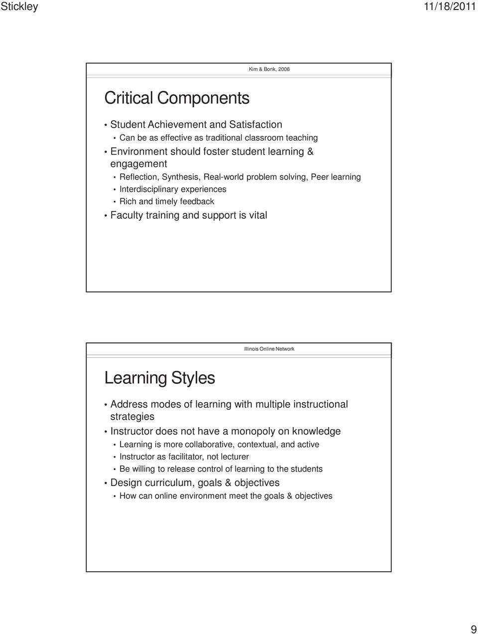 Learning Styles Address modes of learning with multiple instructional strategies Instructor does not have a monopoly on knowledge Learning is more collaborative, contextual, and active