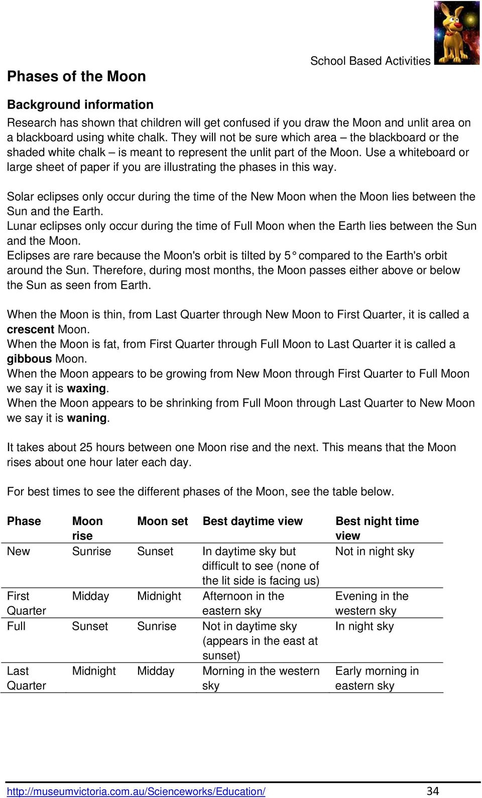 Use a whiteboard or large sheet of paper if you are illustrating the phases in this way. Solar eclipses only occur during the time of the New Moon when the Moon lies between the Sun and the Earth.