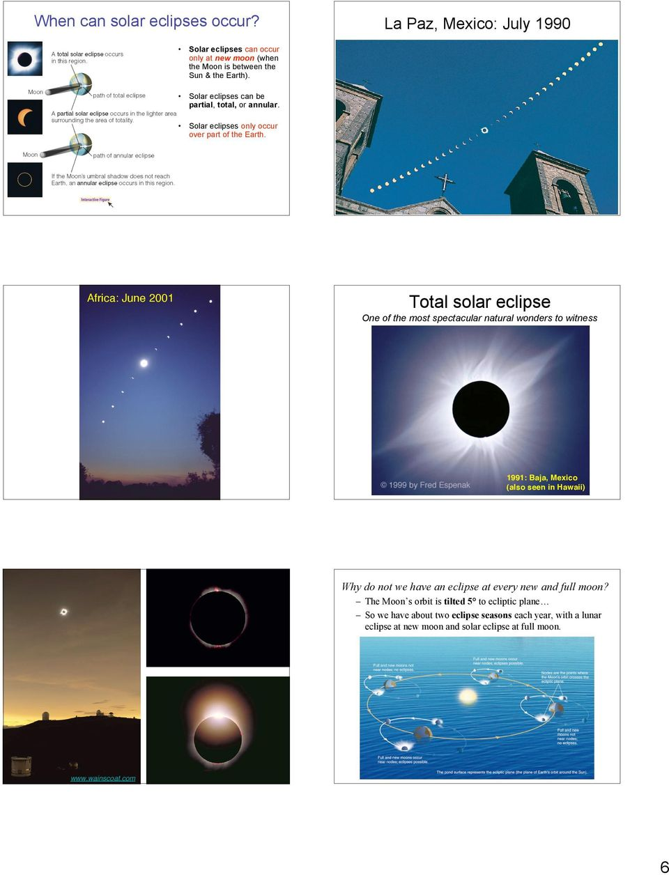 La Paz, Mexico: July 1990 Total solar eclipse One of the most spectacular natural wonders to witness 1991: Baja, Mexico (also seen in Hawaii) Why do not