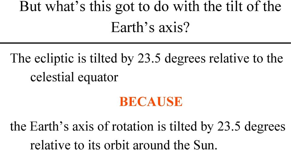 5 degrees relative to the celestial equator BECAUSE the