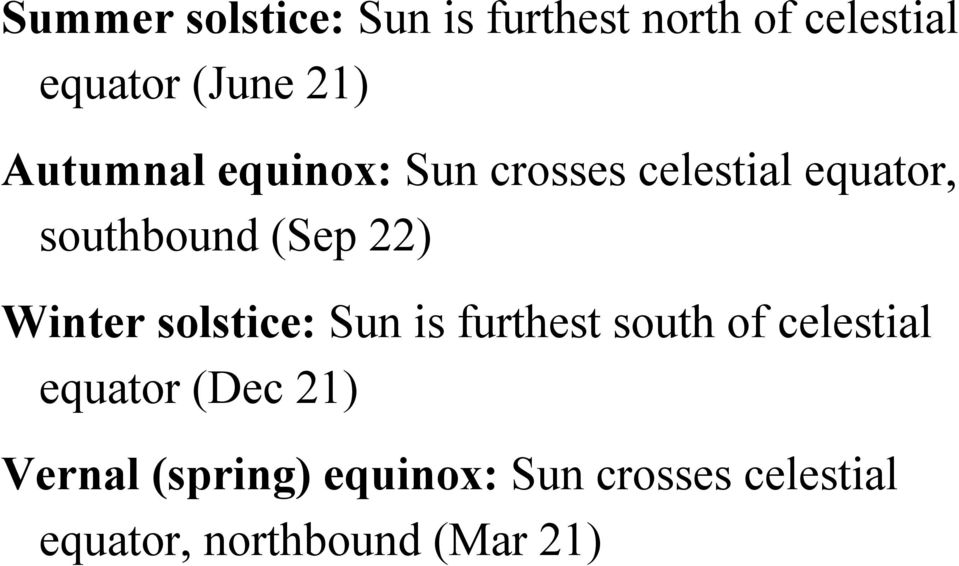 Winter solstice: Sun is furthest south of celestial equator (Dec 21)