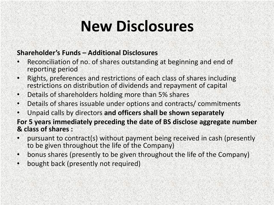 capital Details of shareholders holding more than 5% shares Details of shares issuable under options and contracts/ commitments Unpaid calls by directors and officers shall be shown separately For 5