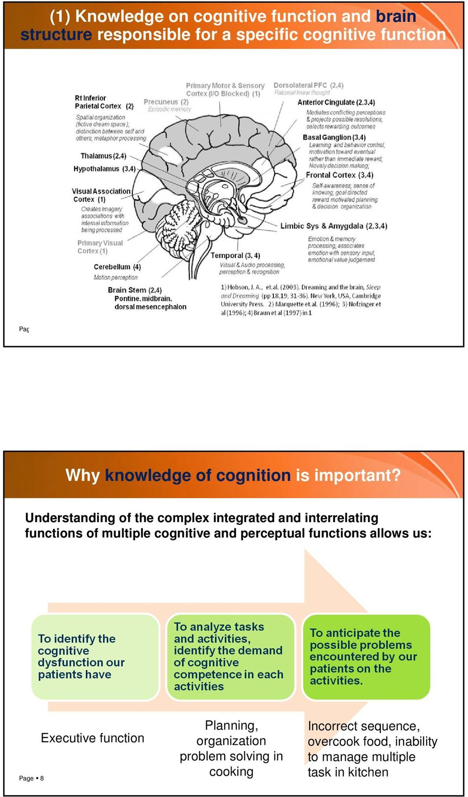 Understanding of the complex integrated and interrelating functions of multiple cognitive and perceptual