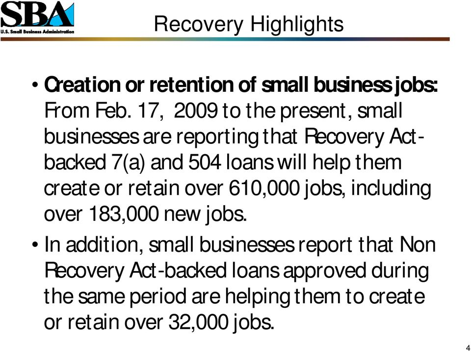 help them create or retain over 610,000 jobs, including over 183,000 new jobs.