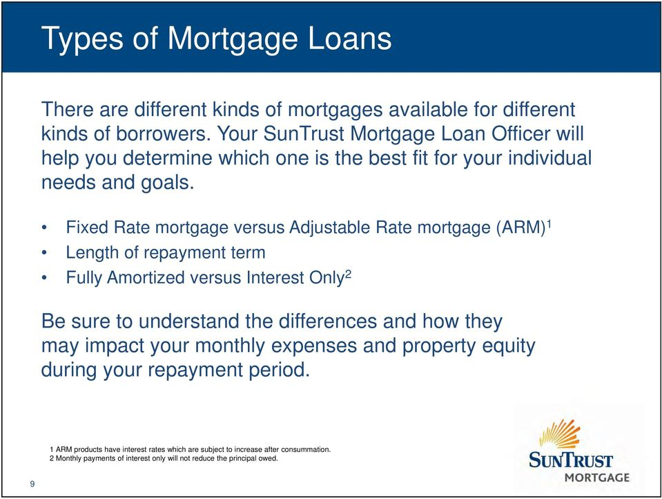 Fixed Rate mortgage versus Adjustable Rate mortgage (ARM) 1 Length of repayment term Fully Amortized versus Interest Only 2 Be sure to understand the differences