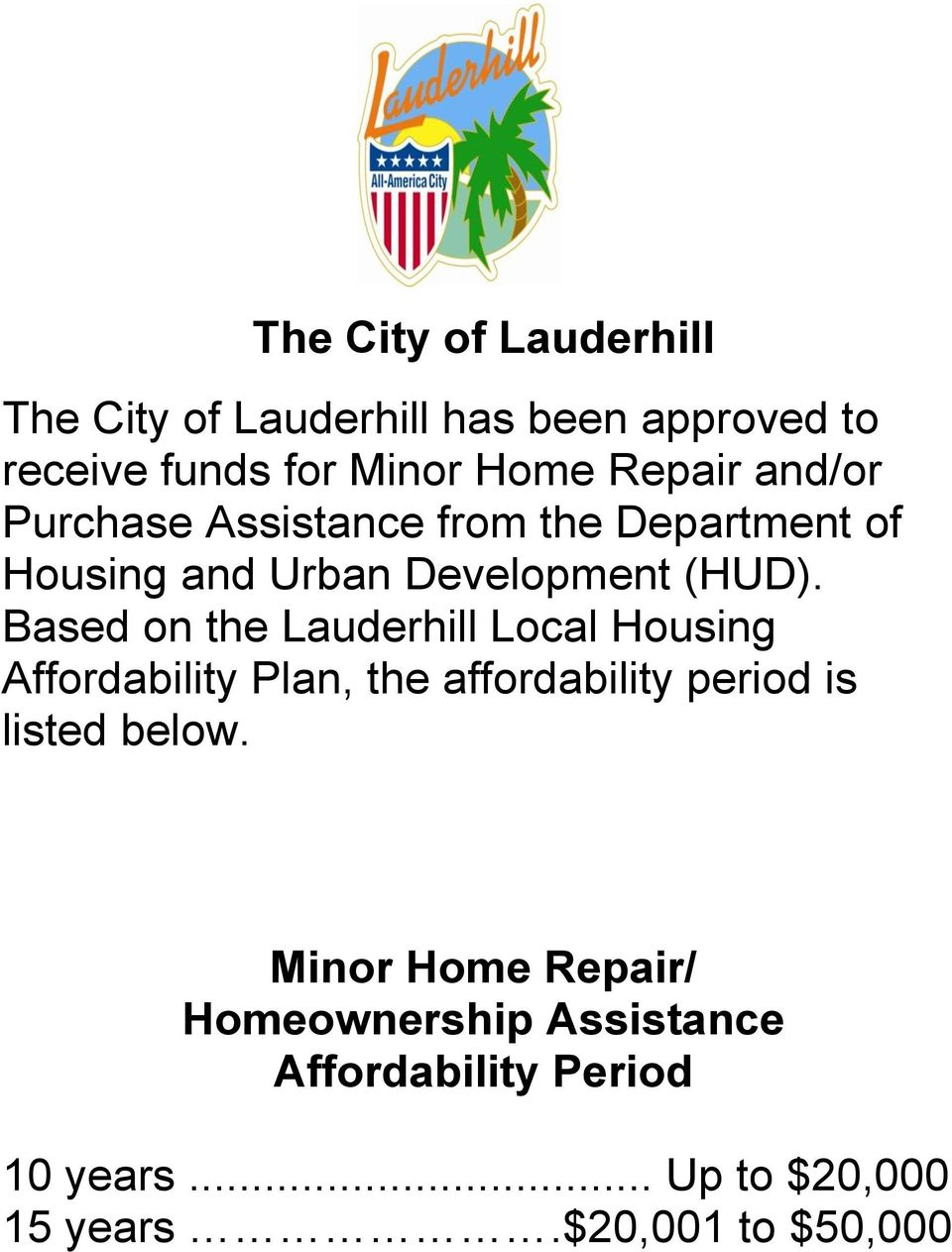 Based on the Lauderhill Local Housing Affordability Plan, the affordability period is listed below.