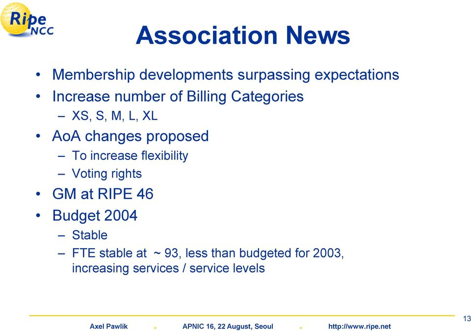 increase flexibility Voting rights GM at RIPE 46 Budget 2004 Stable FTE