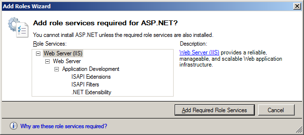 Figure 4 Select Role Services 5. Some role services will already be checked off by default. Leave those role services selected. 6. Under the Application Development tree node, select the ASP.