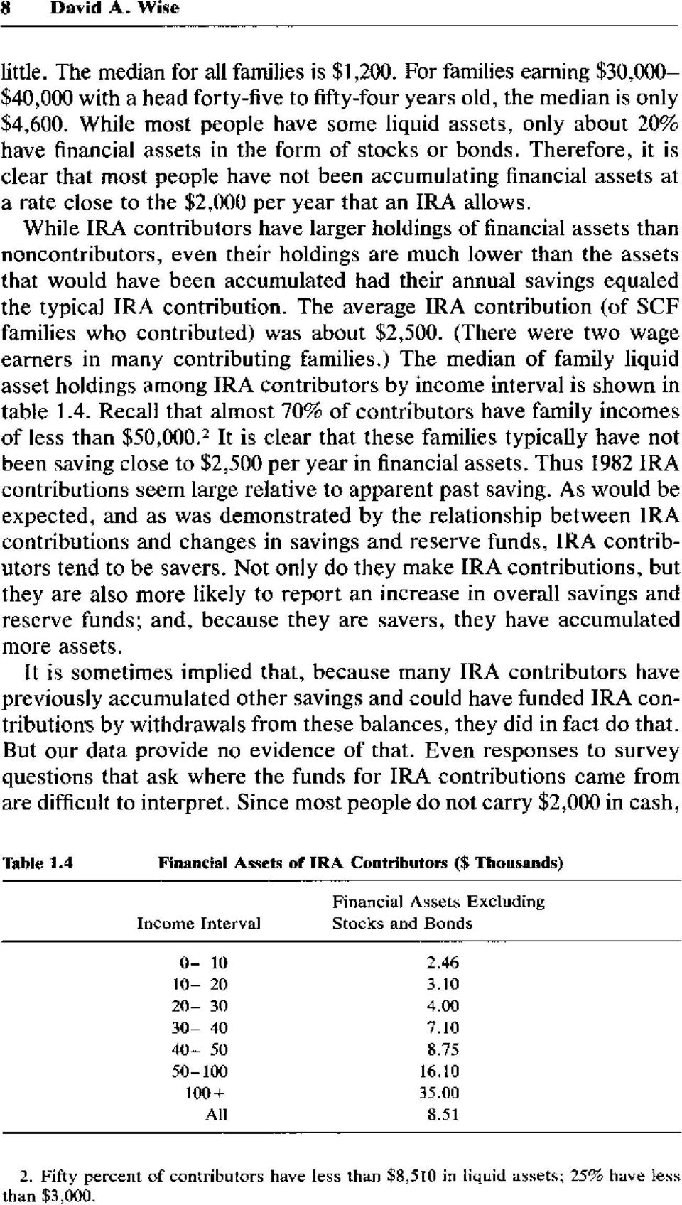 Therefore, it is clear that most people have not been accumulating financial assets at a rate close to the $2,()00 per year that an IRA allows.