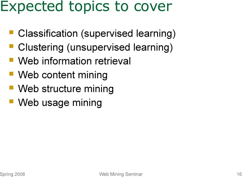 information retrieval Web content mining Web