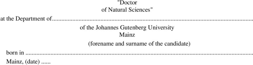 .. of the Johannes Gutenberg University