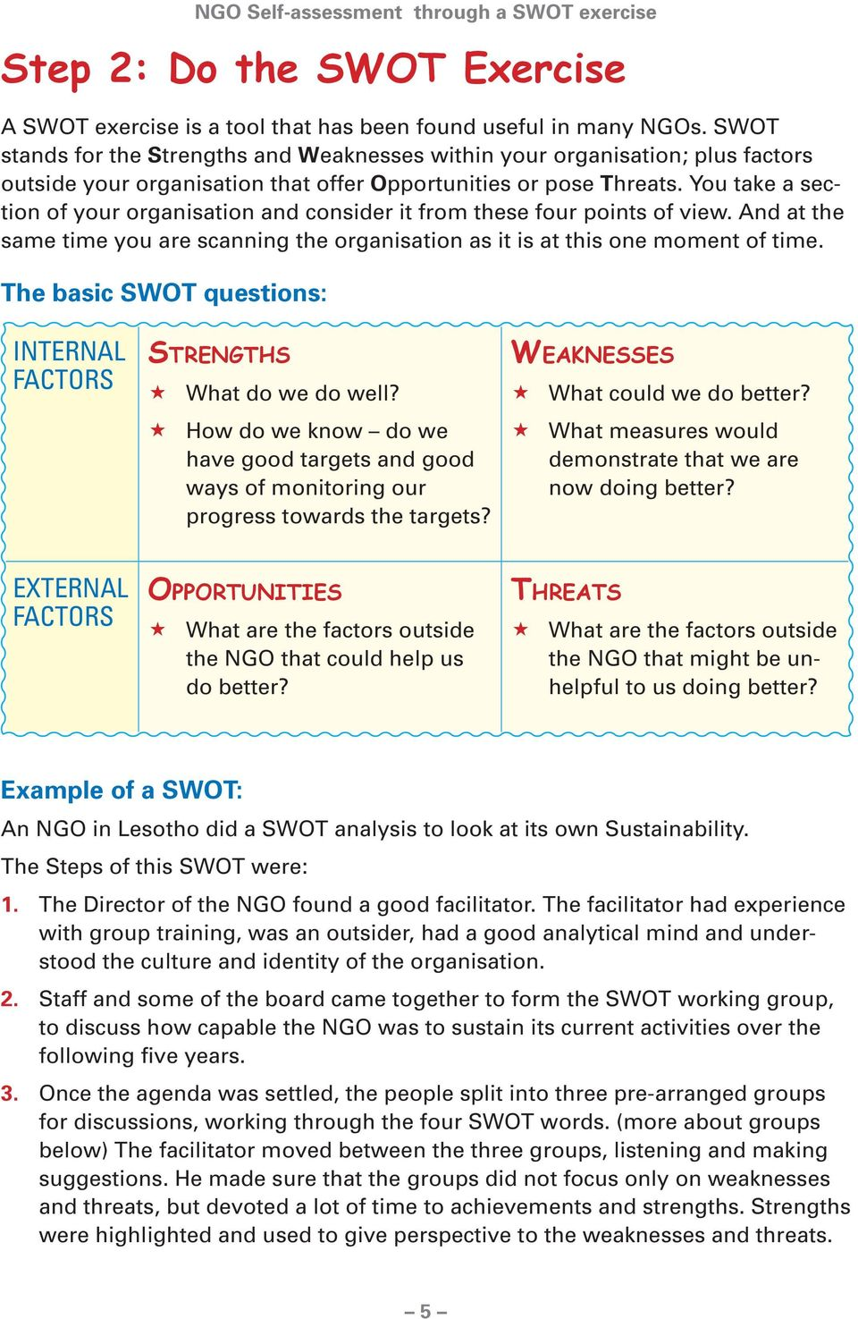 it is at this one moment of time The basic SWOT questions: INTERNAL FACTORS STRENGTHS What do we do well?