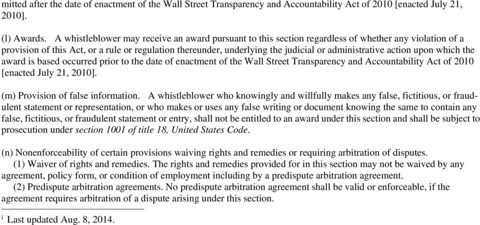 administrative action upon which the award is based occurred prior to the date of enactment of the Wall Street Transparency and Accountability Act of 2010 [enacted July 21, 2010].