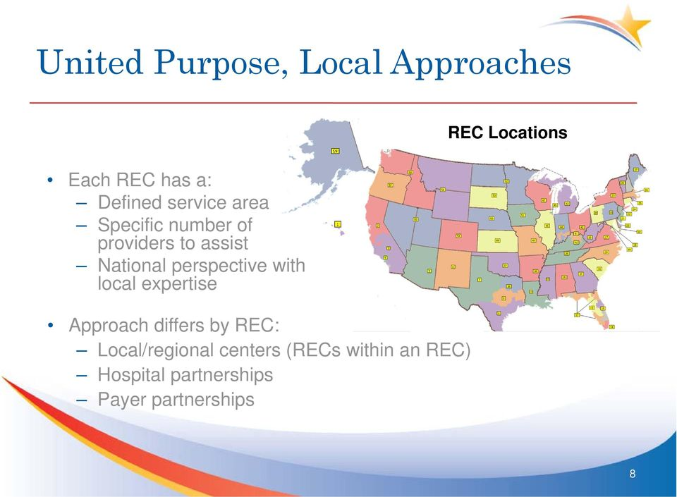 with local expertise Approach differs by REC: Local/regional centers