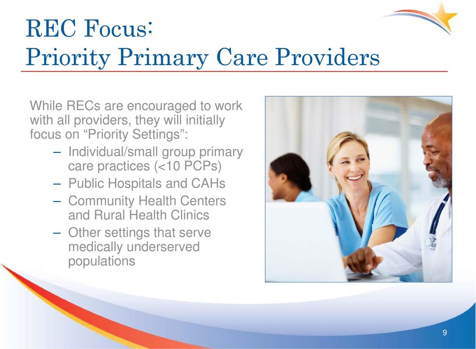 group primary care practices (<10 PCPs) Public Hospitals and CAHs Community Health