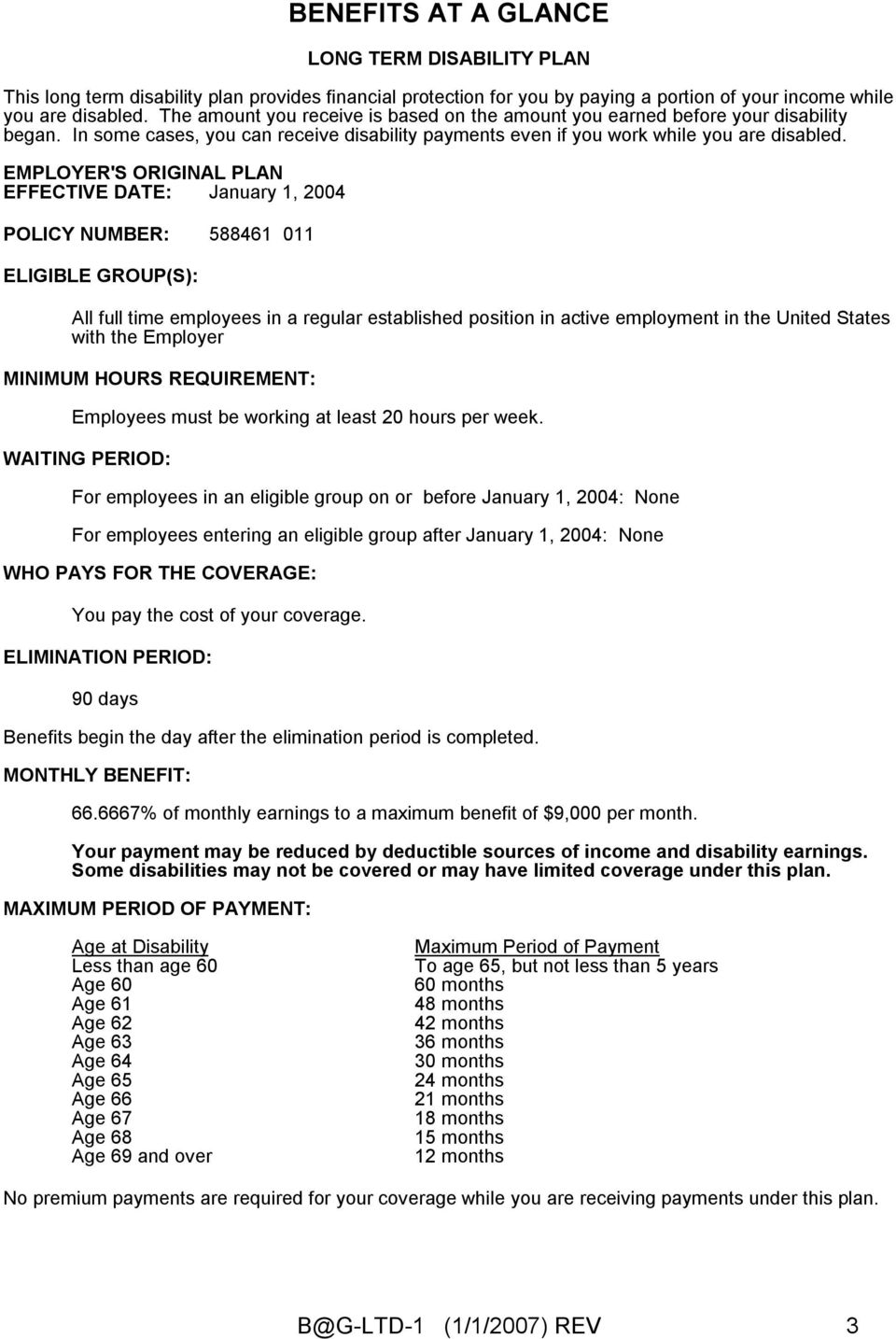 EMPLOYER'S ORIGINAL PLAN EFFECTIVE DATE: January 1, 2004 POLICY NUMBER: 588461 011 ELIGIBLE GROUP(S): All full time employees in a regular established position in active employment in the United