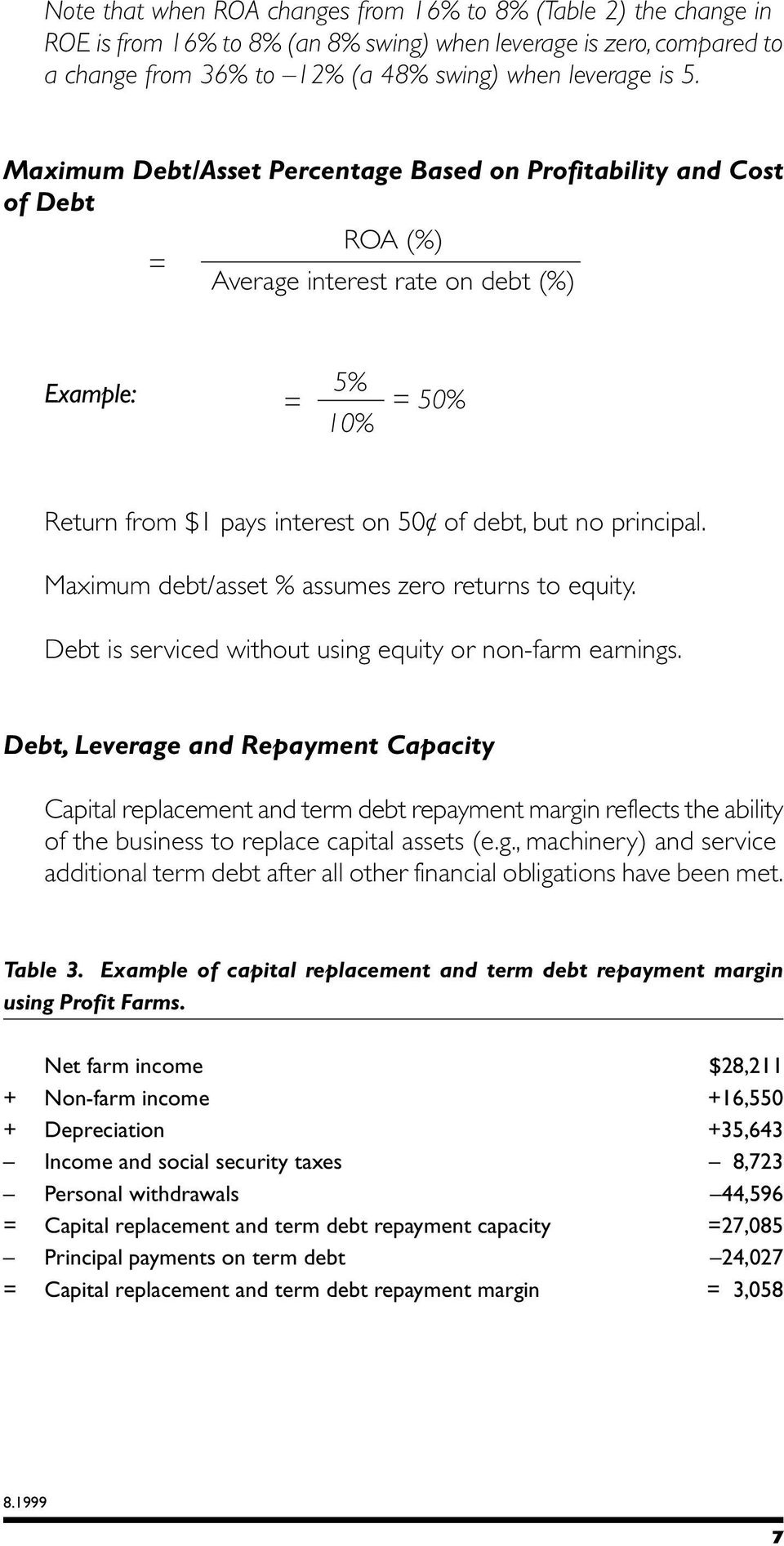Maximum debt/asset % assumes zero returns to equity. Debt is serviced without using equity or non-farm earnings.