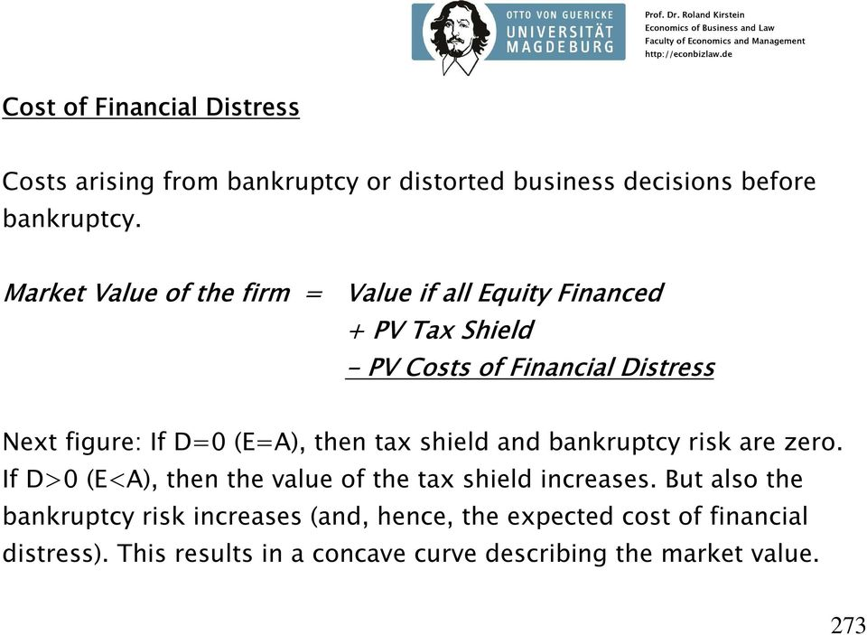 (E=A), then tax shield and bankruptcy risk are zero. If D>0 (E<A), then the value of the tax shield increases.