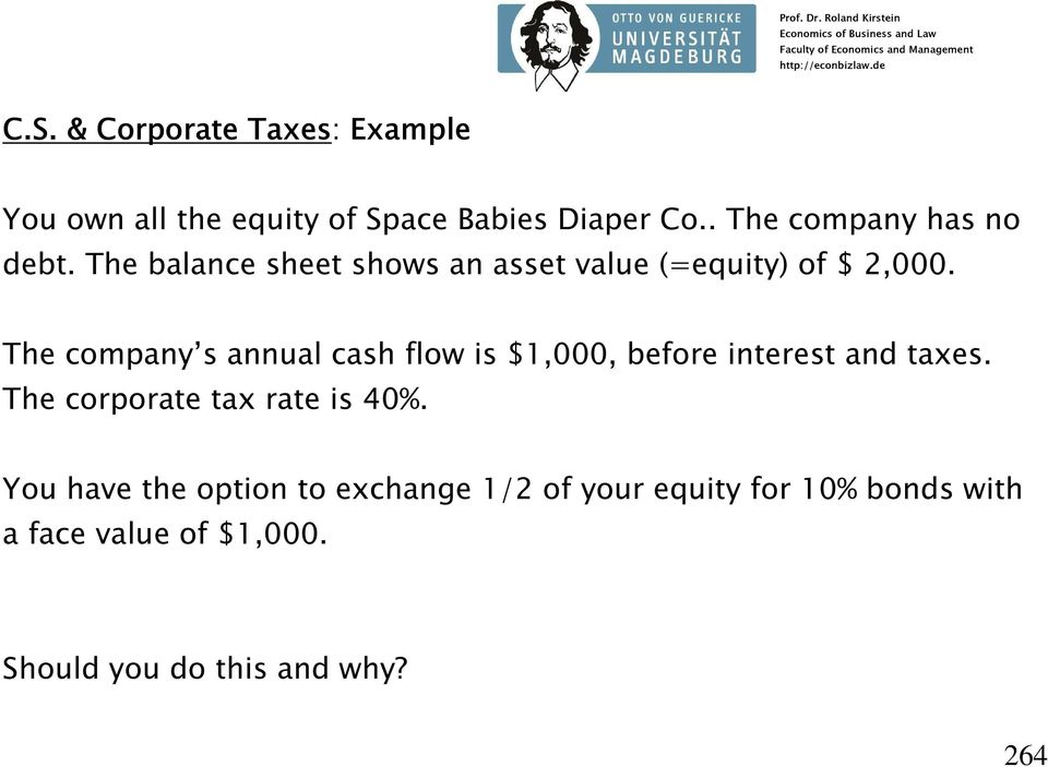 The company s annual cash flow is $1,000, before interest and taxes. The corporate tax rate is 40%.
