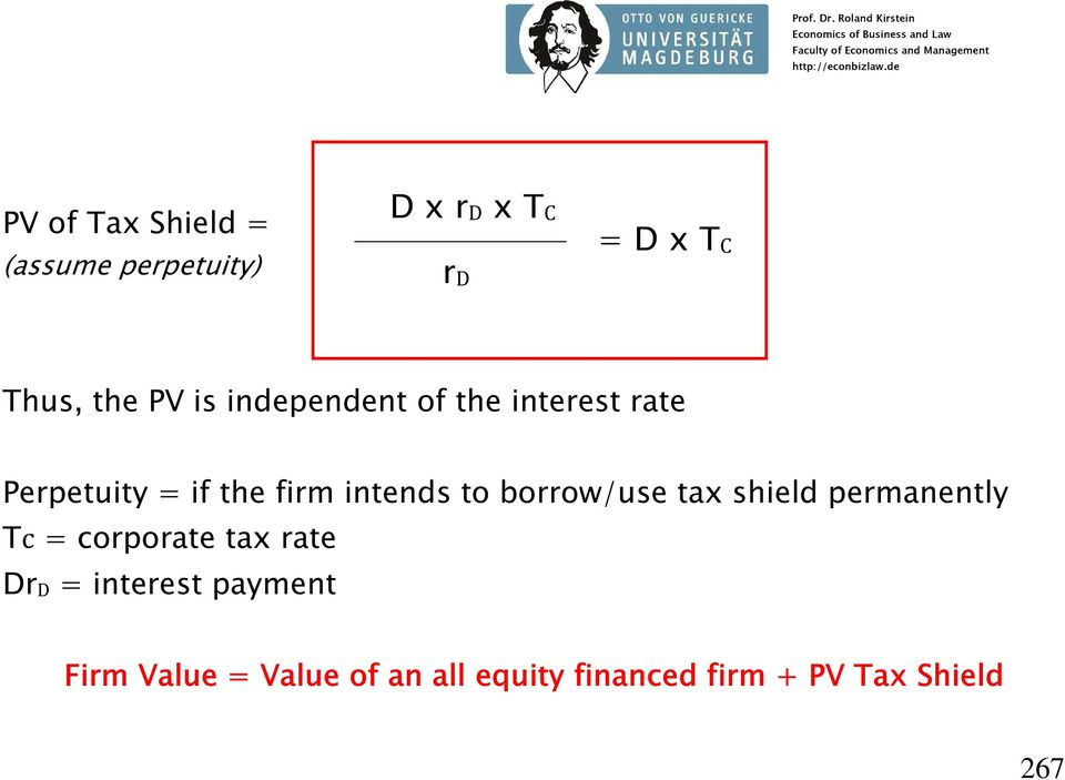 borrow/use tax shield permanently Tc = corporate tax rate DrD = interest