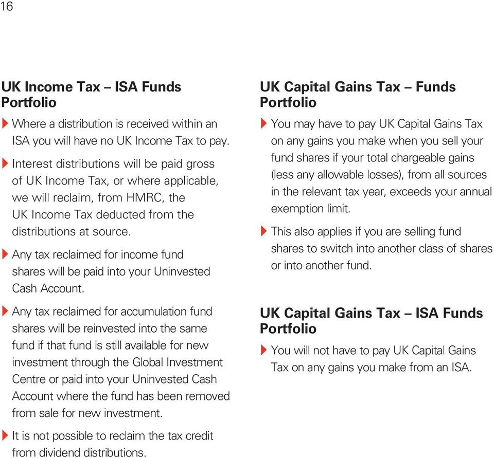 } Any tax reclaimed for income fund shares will be paid into your Uninvested Cash Account.