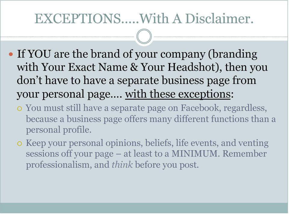 business page from your personal page.