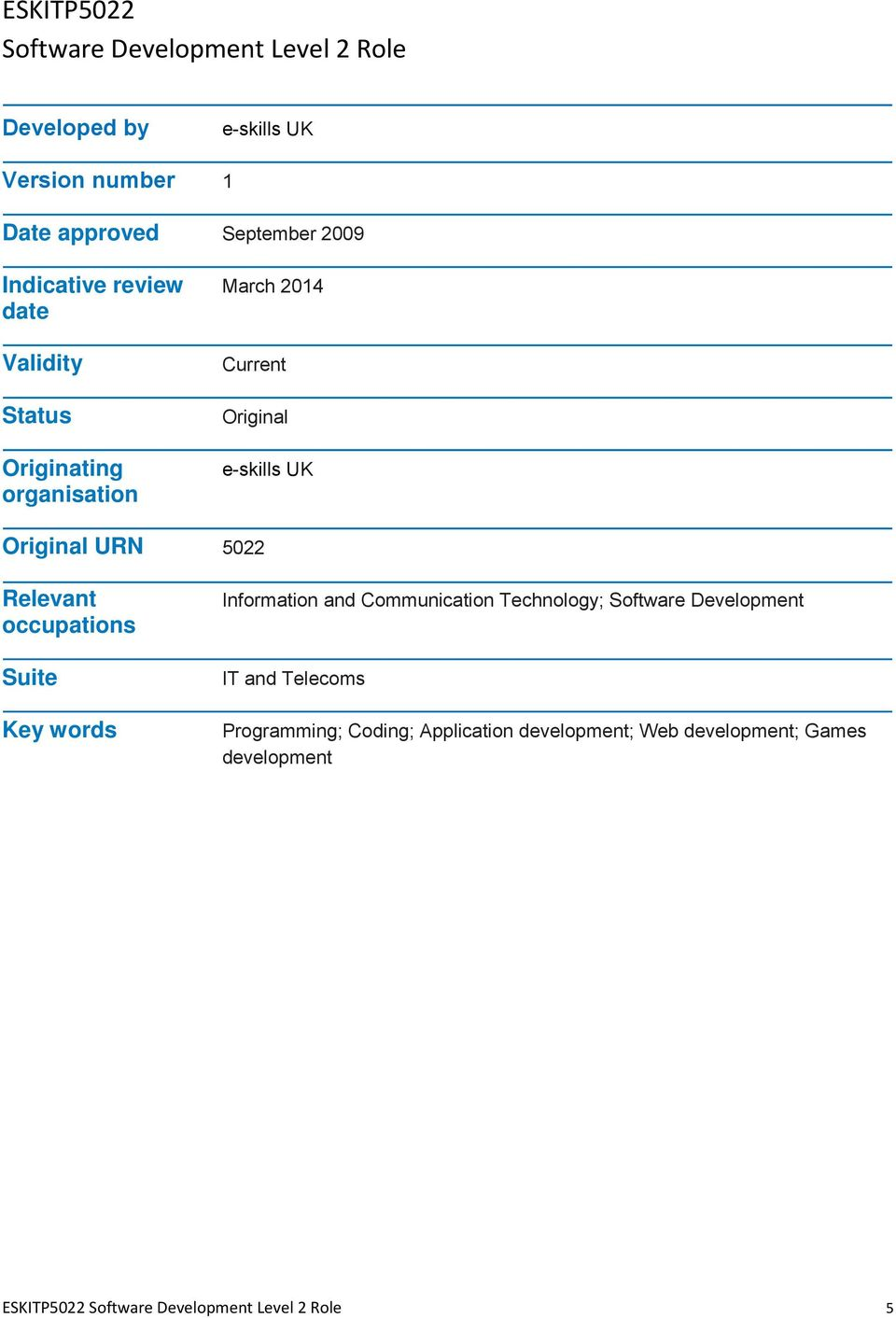 Relevant occupations Suite Key words Information and Communication Technology; Software Development