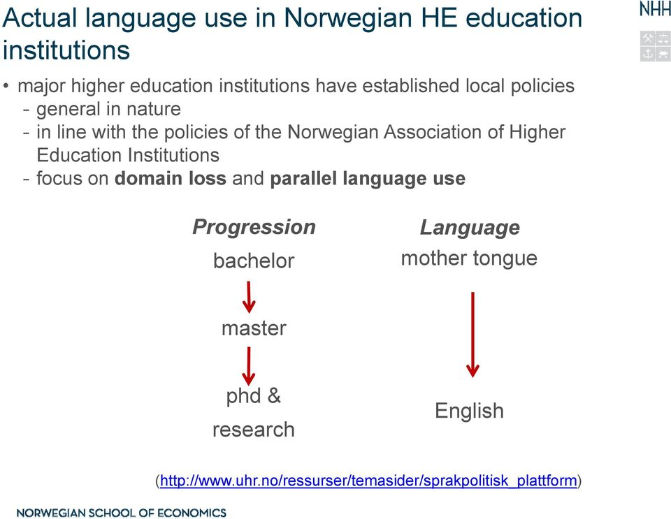 Higher Education Institutions - focus on domain loss and parallel language use Progression Language bachelor