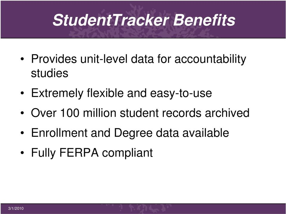 easy-to-use Over 100 million student records