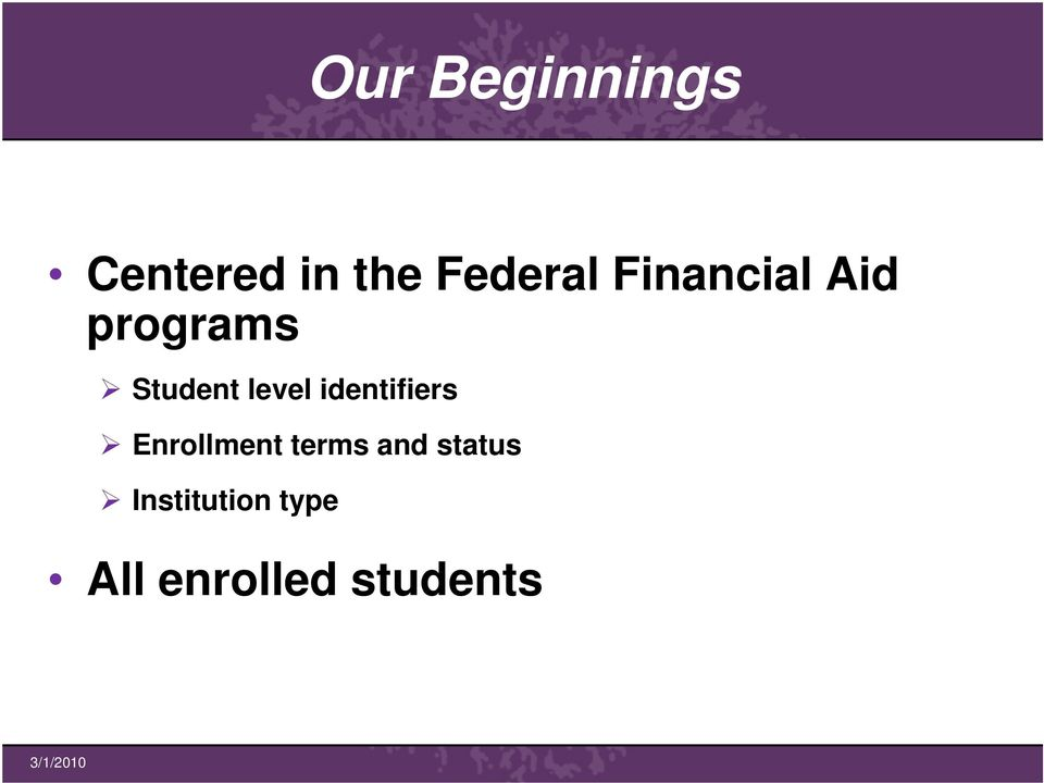identifiers Enrollment terms and
