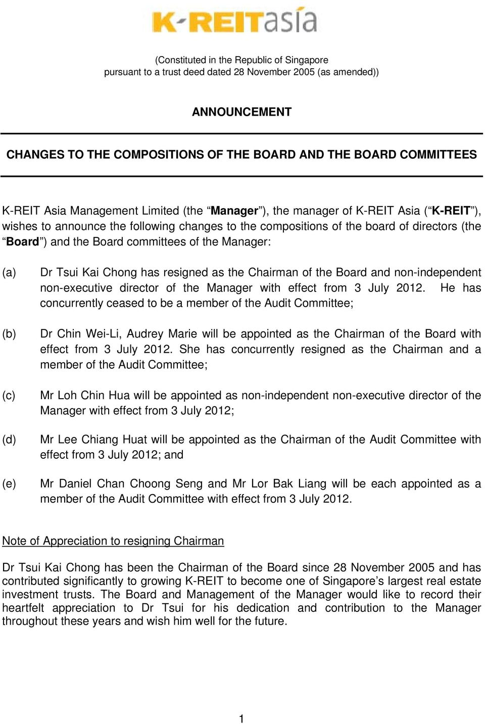 of the Manager: (a) (b) (c) (d) (e) Dr Tsui Kai Chong has resigned as the Chairman of the Board and non-independent non-executive director of the Manager with effect from 3 July 2012.