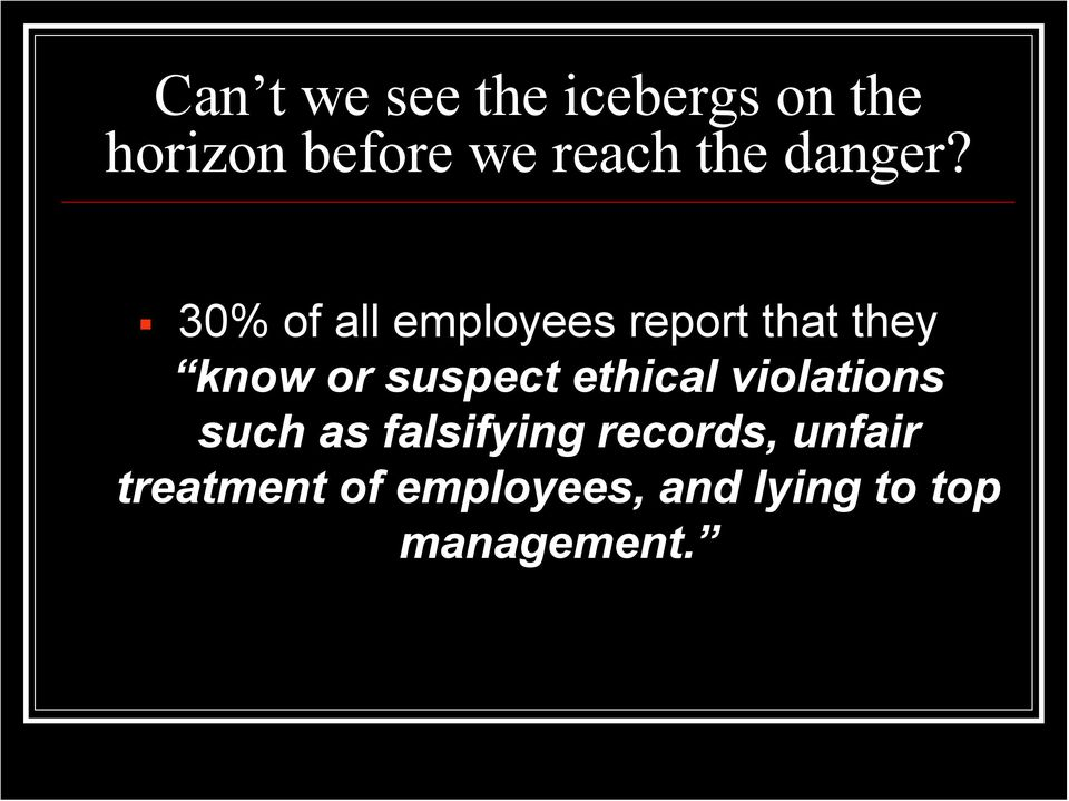 30% of all employees report that they know or suspect