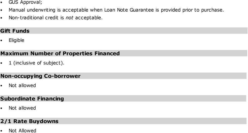 Gift Funds Eligible Maximum Number of Properties Financed 1 (inclusive of subject).