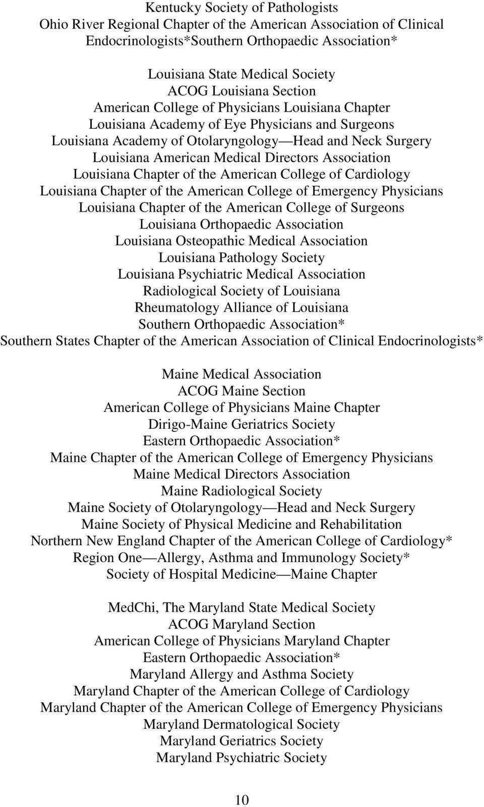 Chapter of the American College of Cardiology Louisiana Chapter of the American College of Emergency Physicians Louisiana Chapter of the American College of Surgeons Louisiana Orthopaedic Association