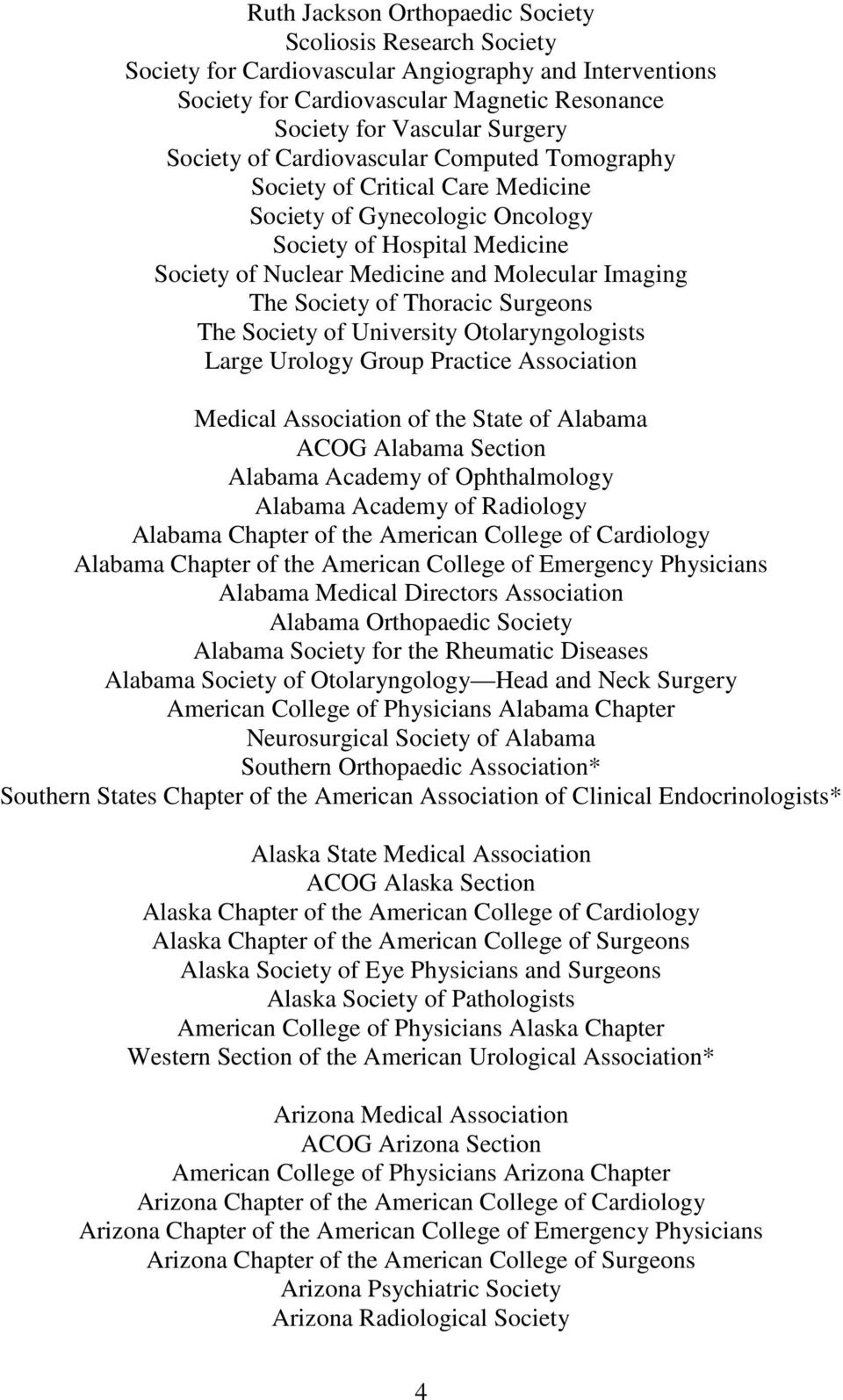 Thoracic Surgeons The Society of University Otolaryngologists Large Urology Group Practice Association Medical Association of the State of Alabama ACOG Alabama Section Alabama Academy of
