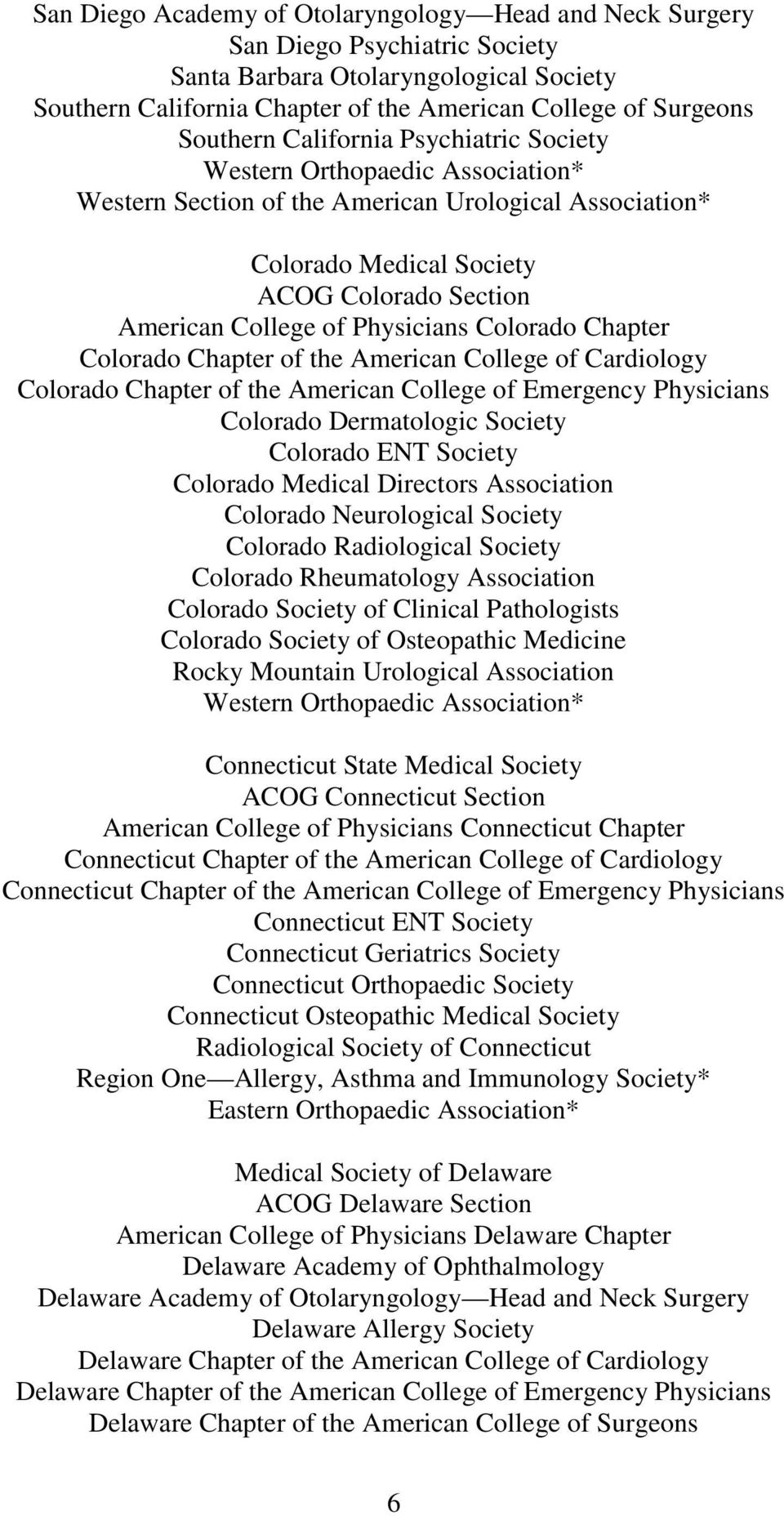 Chapter of the American College of Cardiology Colorado Chapter of the American College of Emergency Physicians Colorado Dermatologic Society Colorado ENT Society Colorado Medical Directors