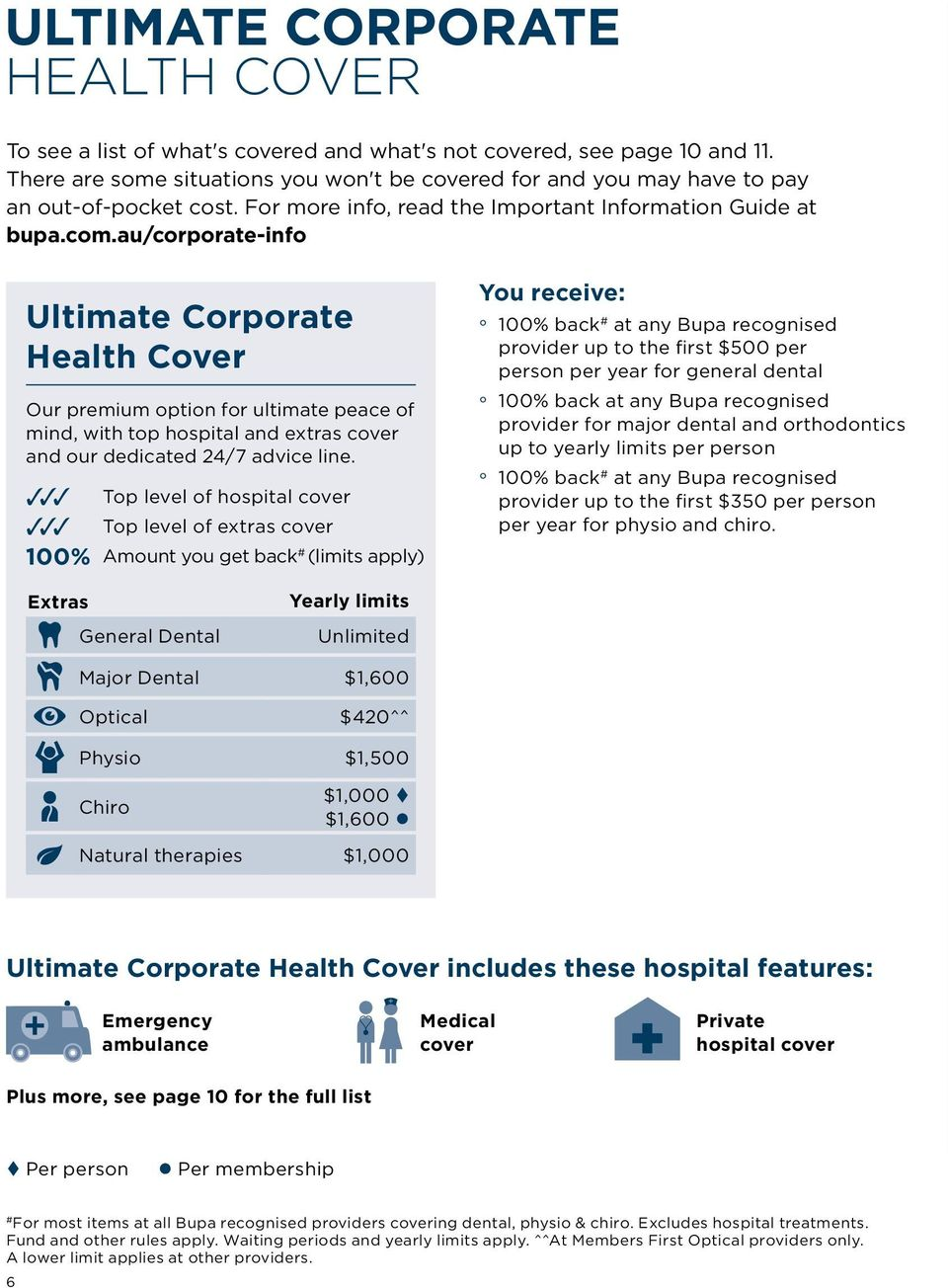 au/corporate-info Ultimate Health Cover Our premium option for ultimate peace of mind, with top hospital and extras cover and our dedicated 24/7 advice line.