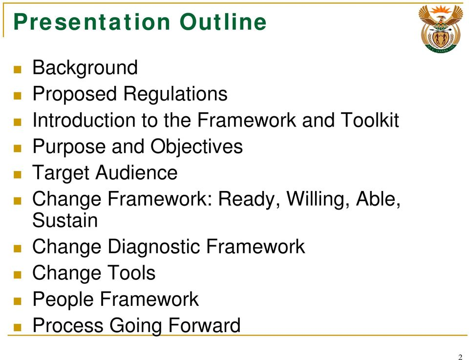 Audience Change Framework: Ready, Willing, Able, Sustain Change
