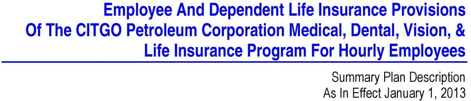 Vision, & Life Insurance Program For Hourly