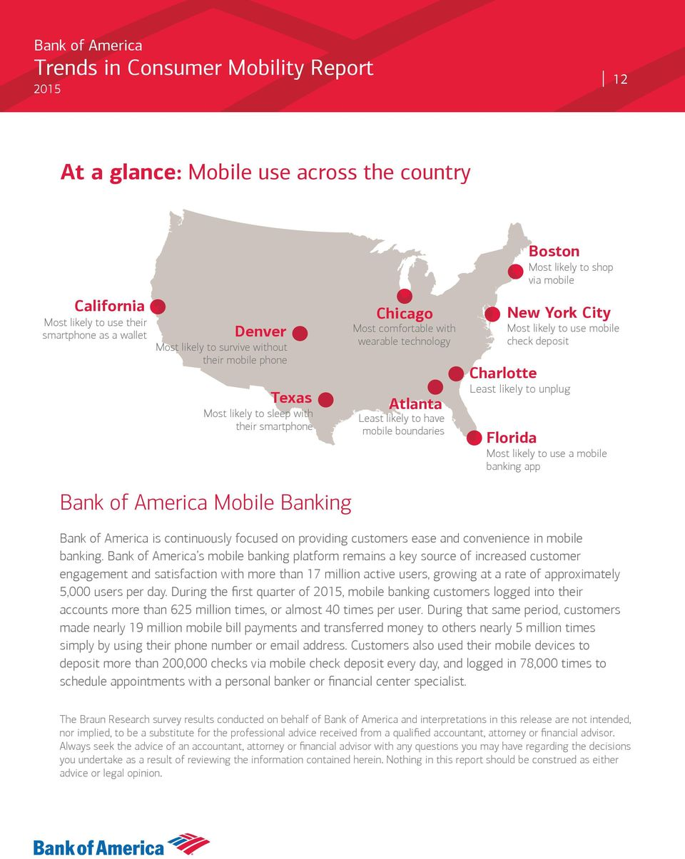 check deposit Least likely to unplug Florida Most likely to use a mobile banking app Bank of America Mobile Banking Bank of America is continuously focused on providing customers ease and convenience