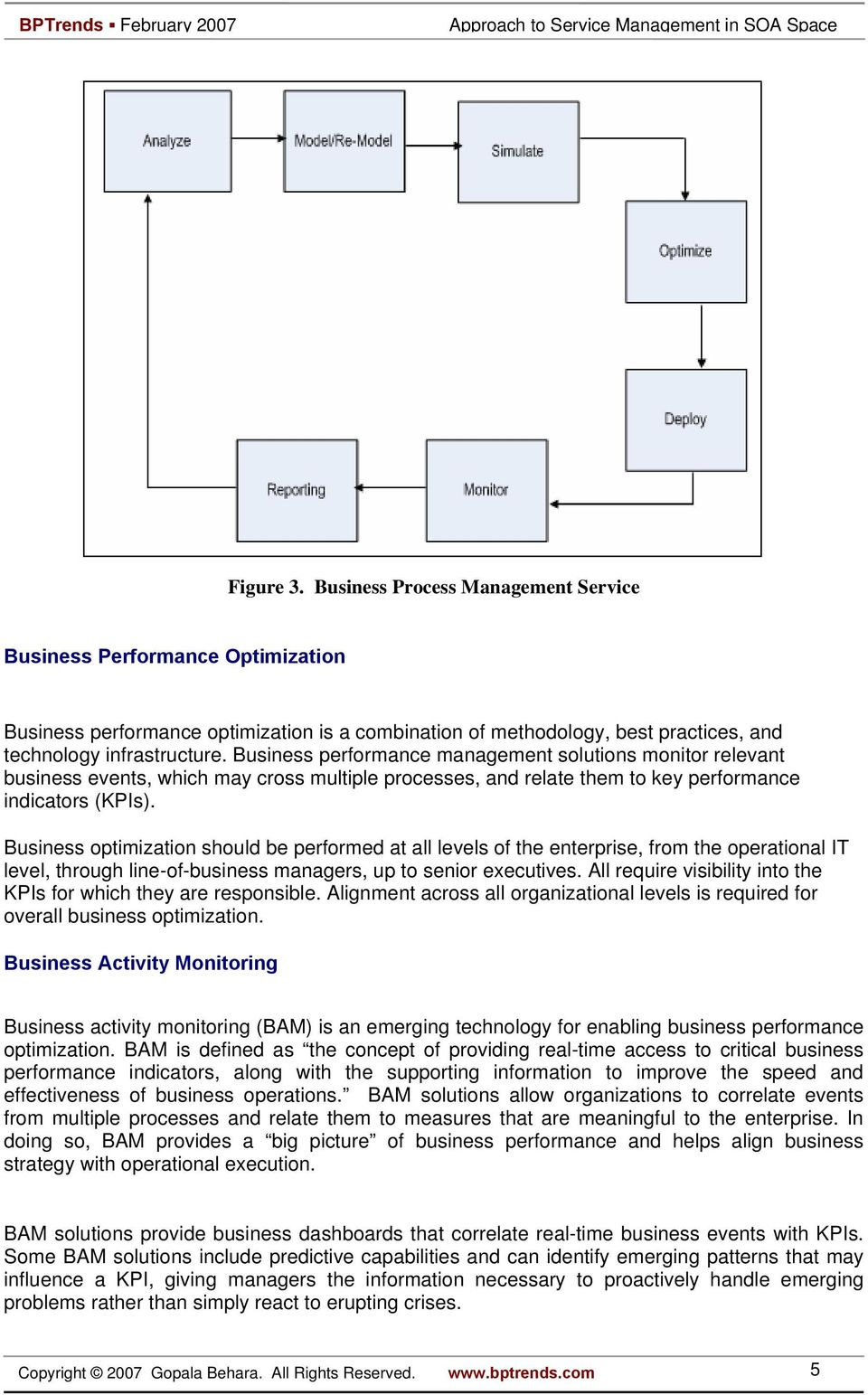 Business optimization should be performed at all levels of the enterprise, from the operational IT level, through line-of-business managers, up to senior executives.