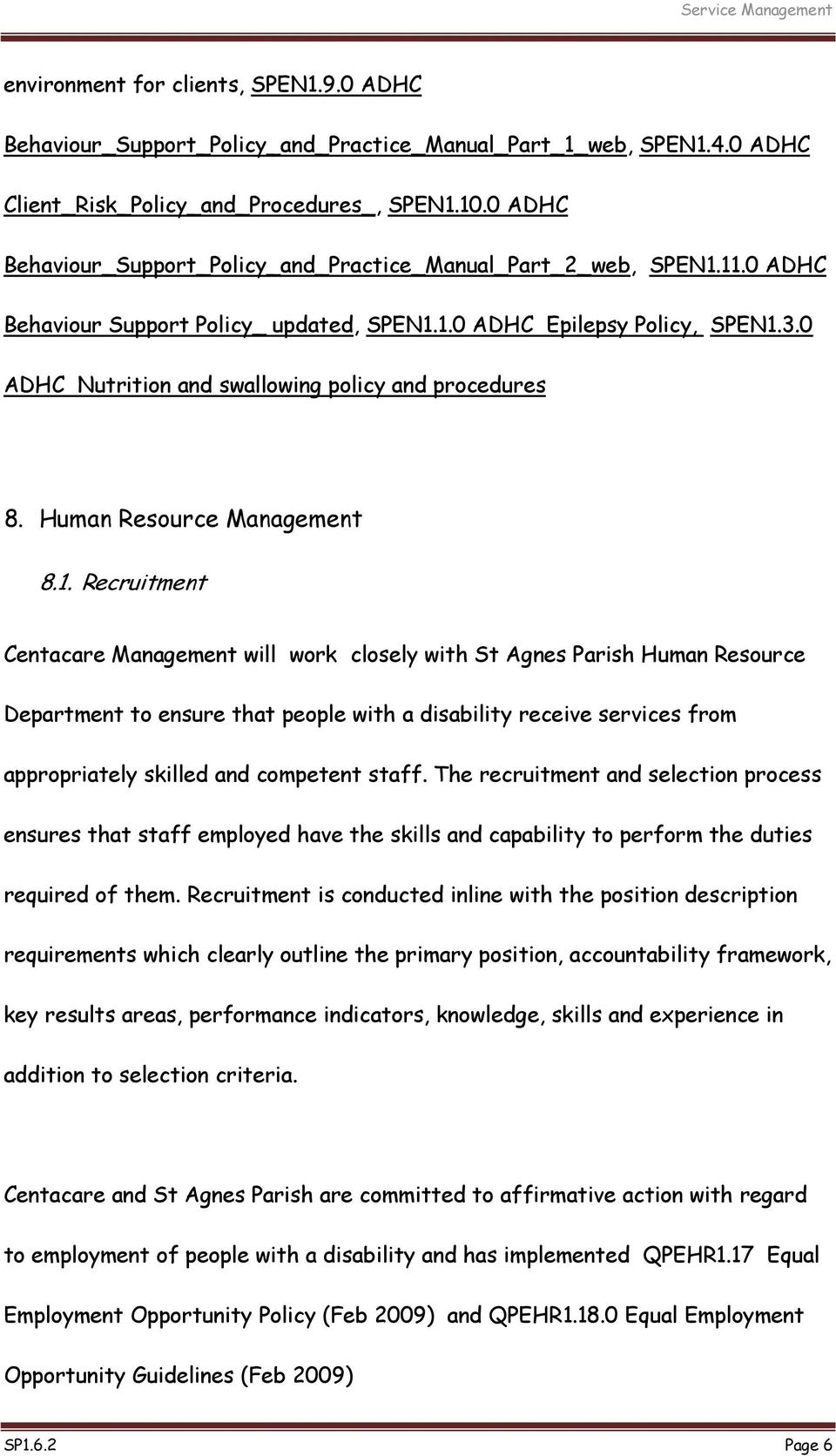 0 ADHC Nutrition and swallowing policy and procedures 8. Human Resource Management 8.1.