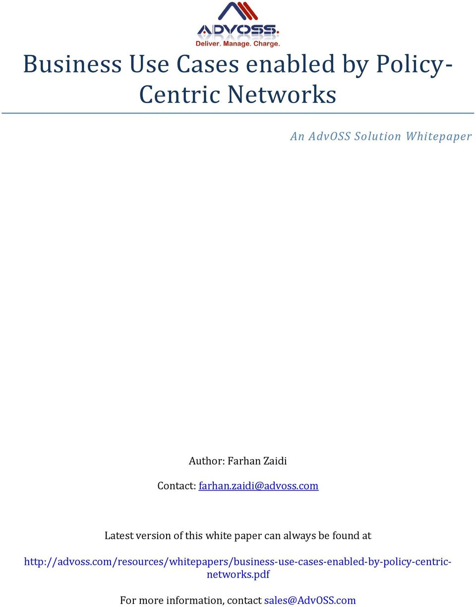 com Latest version of this white paper can always be found at http://advoss.