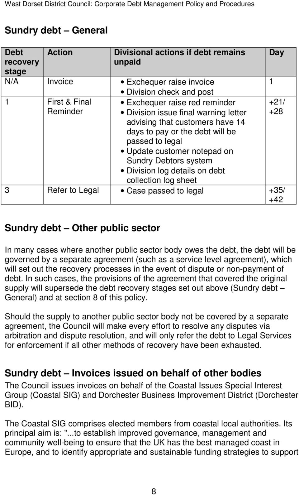 debt collection log sheet Day 1 +21/ +28 3 Refer to Legal Case passed to legal +35/ +42 Sundry debt Other public sector In many cases where another public sector body owes the debt, the debt will be