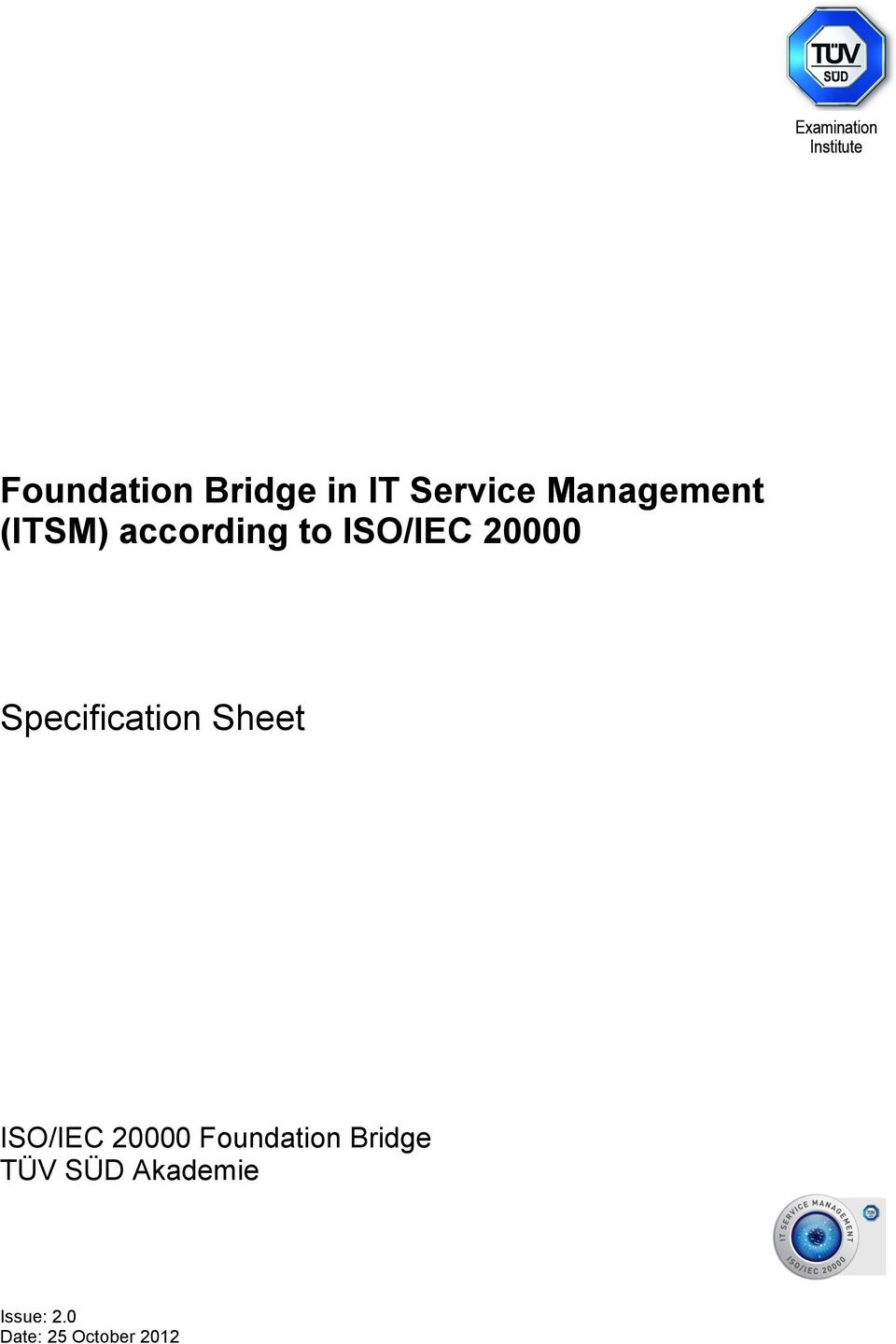 ISO/IEC 20000 Specification Sheet