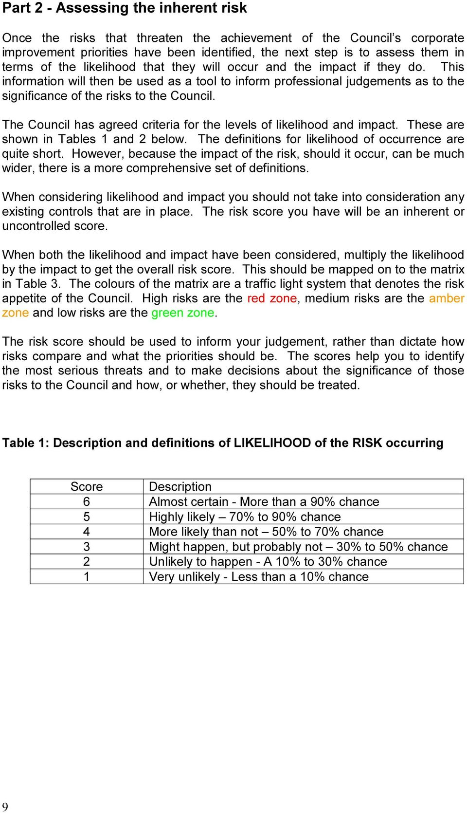 The Council has agreed criteria for the levels of likelihood and impact. These are shown in Tables 1 and 2 below. The definitions for likelihood of occurrence are quite short.