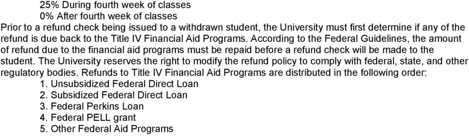 According to the Federal Guidelines, the amount of refund due to the financial aid programs must be repaid before a refund check will be made to the student.