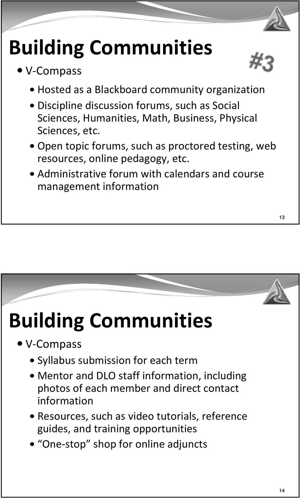 Administrative forum with calendars and course management information 13 Building Communities V-Compass Syllabus submission for each term Mentor and DLO