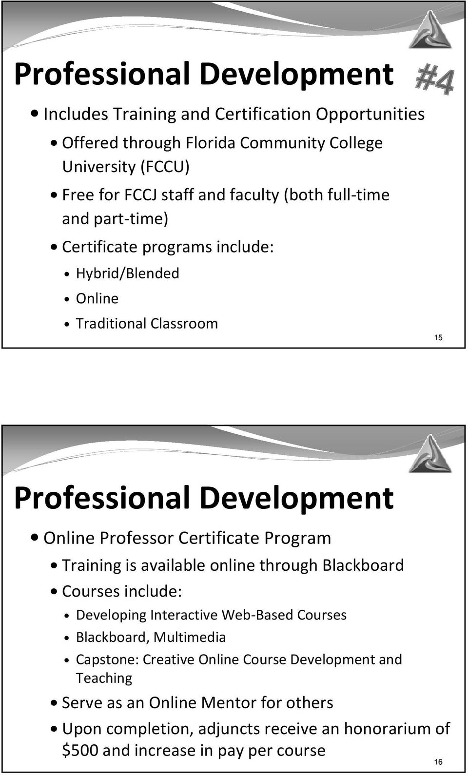 Certificate Program Training is available online through Blackboard Courses include: Developing Interactive Web-Based Courses Blackboard, Multimedia Capstone:
