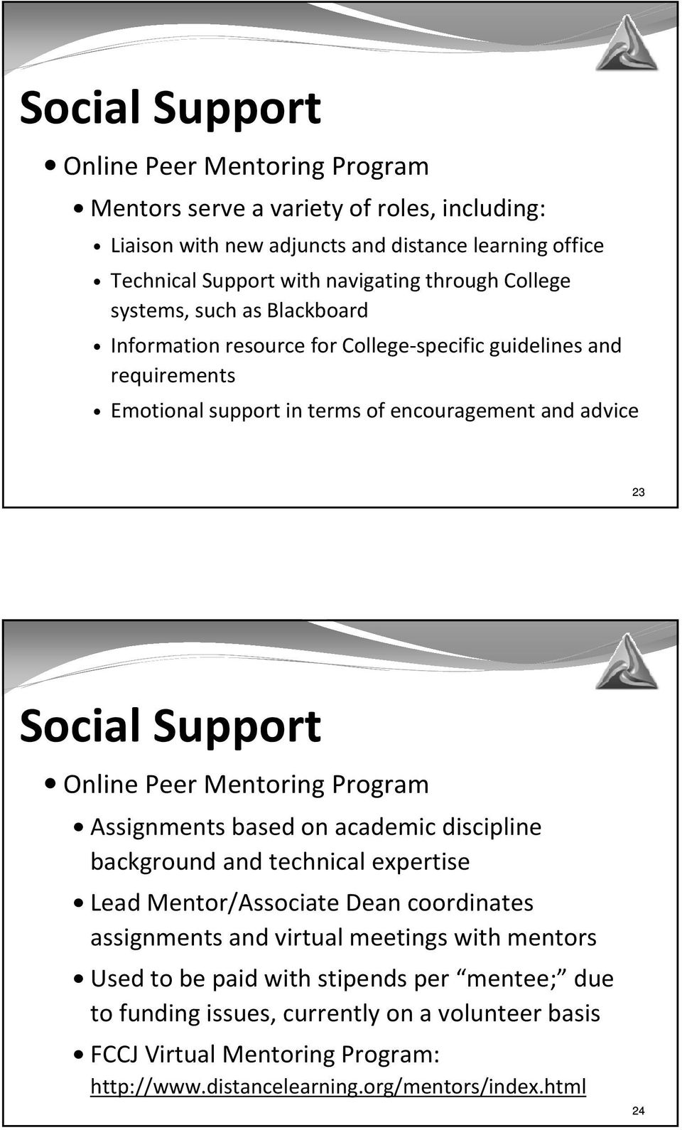 Support Online Peer Mentoring Program Assignments based on academic discipline background and technical expertise Lead Mentor/Associate Dean coordinates assignments and virtual